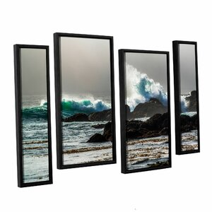 The Wave, Long Beach 4 Piece Framed Photographic Print Set by Red Barrel Studio