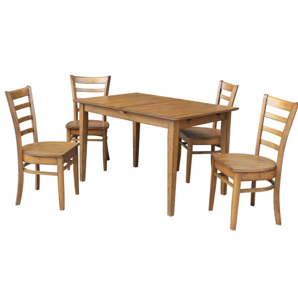 Wellston Butterfly Leaf Extendable 5 Piece Solid Wood Dining Set by Loon Peak