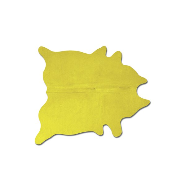 Plainsboro Handmade Yellow Cowhide Area Rug by Latitude Run
