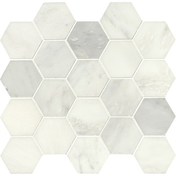 Greecian Hexagon Polished 3 x 3 Marble Mosaic Tile in White by MSI