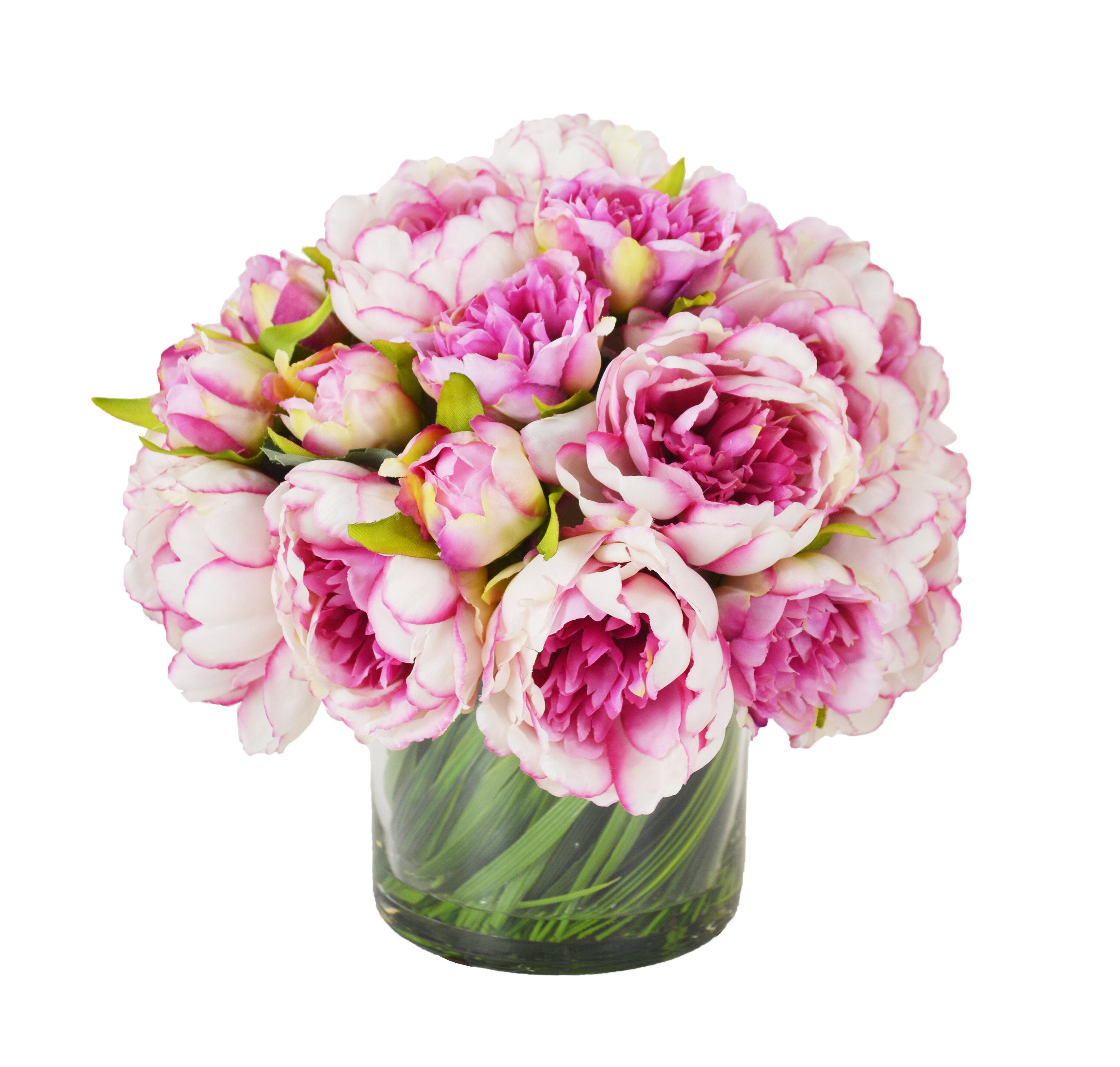 Creative Displays Inc Faux Peonies Floral Arrangement In Glass Vase Reviews Perigold