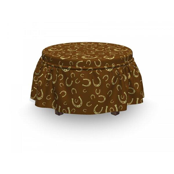 Western Horseshoe Motif Barn 2 Piece Box Cushion Ottoman Slipcover Set By East Urban Home
