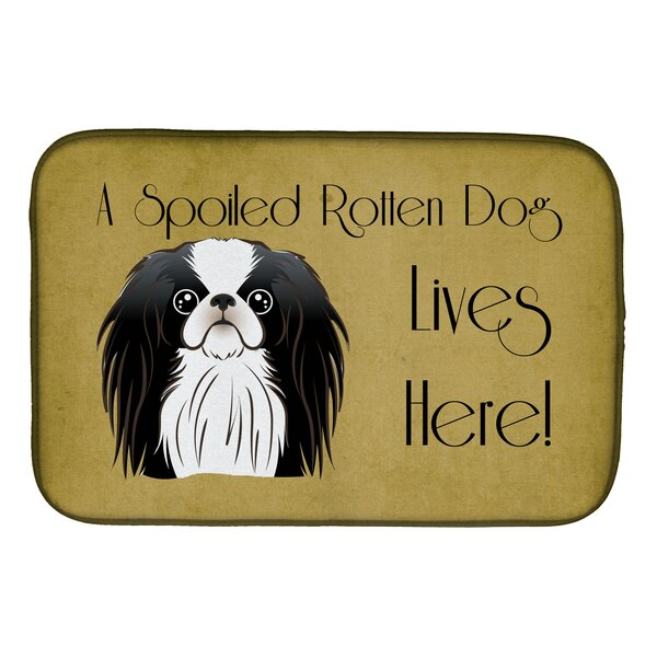 Japanese Chin Spoiled Dog Lives Here Dish Drying Mat by Caroline's Treasures