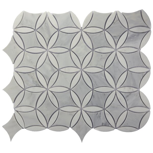 Winter Bloom Random Sized Marble Mosaic Tile in Gray by Byzantin Mosaic