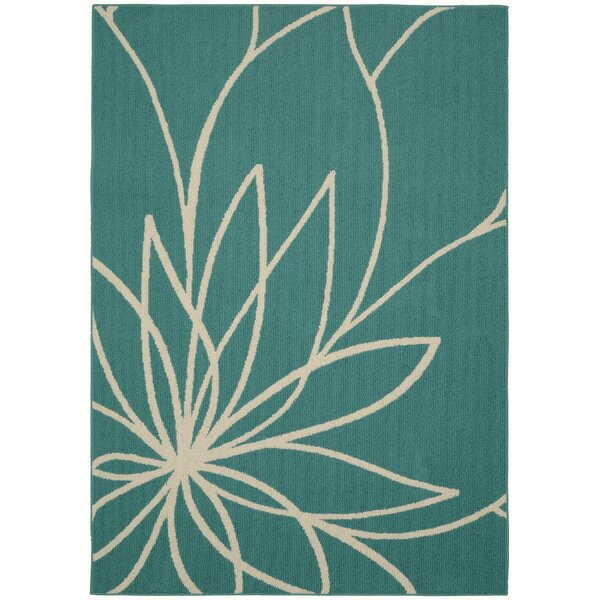 Grand Floral Teal/Ivory Area Rug by Garland Rug