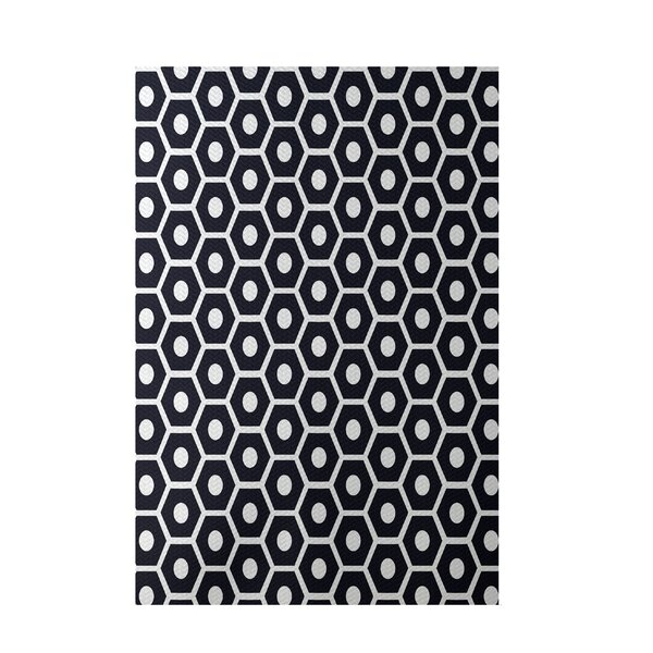 Geometric Black Indoor/Outdoor Area Rug by e by design