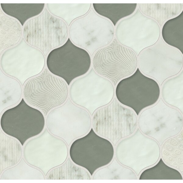 DuJour Glass and Stone Mosaic Tile in White / Green by Grayson Martin