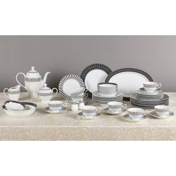 Black & White 57 Piece New Bone China Dinnerware Set, Service for 8