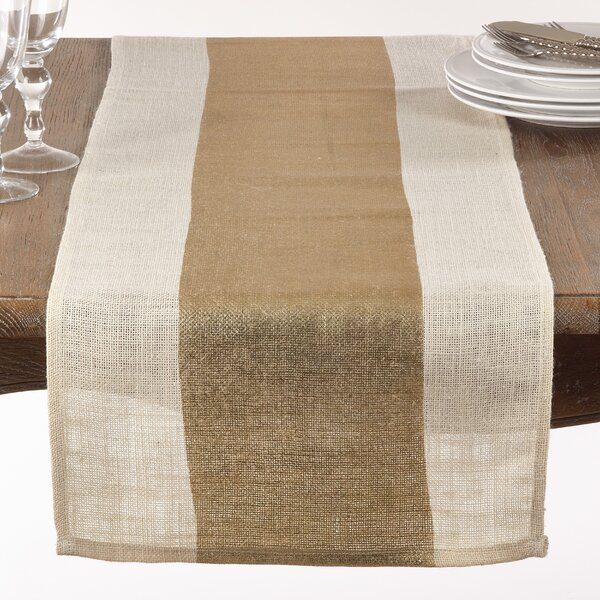 Mcbean Metallic Banded Burlap Tabe Runner by Gracie Oaks