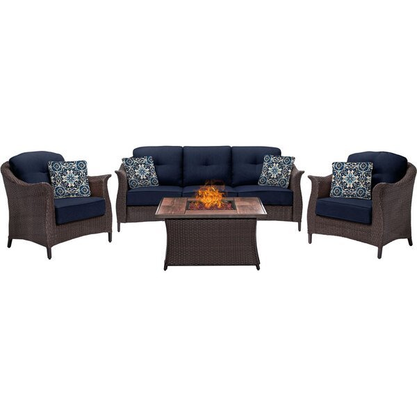 Daigle 4 Piece Sunbrella Sofa Set with Sunbrella Cushions by Darby Home Co