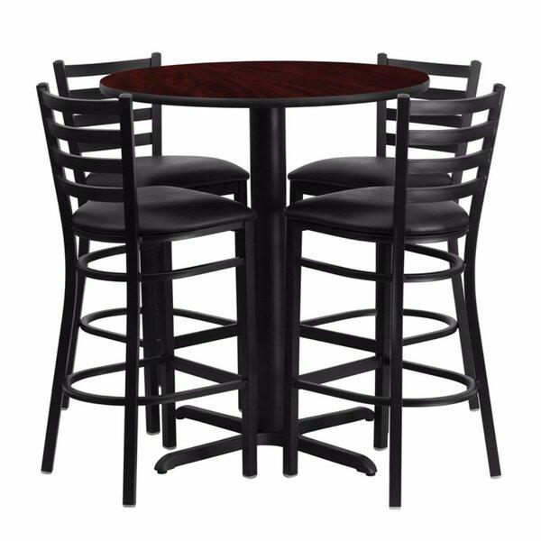 Alvarez Modern Round Laminate 5 Piece Upholstered Pub Table Set by Red Barrel Studio