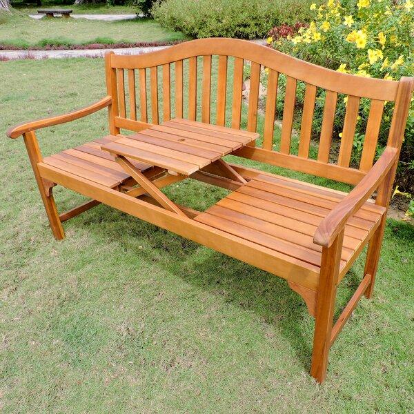 Leone Wooden Garden Bench by Breakwater Bay