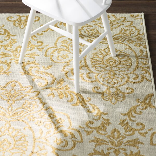 Carriage Hill Ivory/Gold Indoor/Outdoor Area Rug by Charlton Home