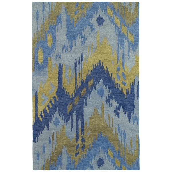 Dodge Hand-Tufted Blue/Camel Area Rug by Ebern Designs