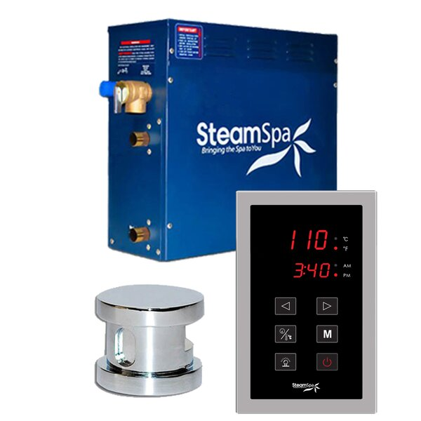 SteamSpa Oasis 4.5 KW QuickStart Steam Bath Generator Package in Polished Chrome by Steam Spa