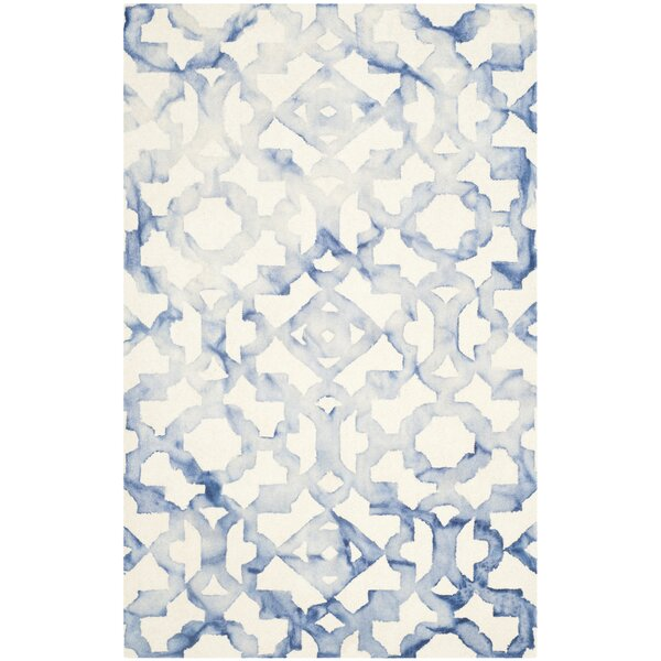 Jawhar Ivory/Blue Area Rug by Bungalow Rose