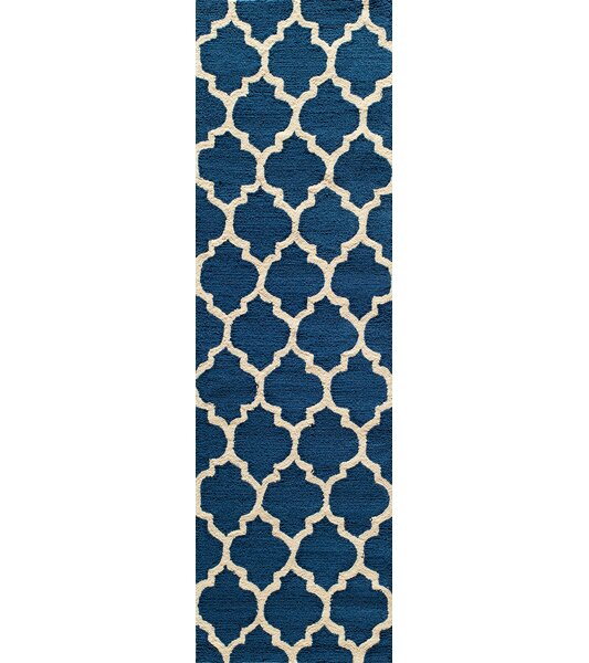 Frank Hand-Hooked Navy Area Rug by House of Hampton