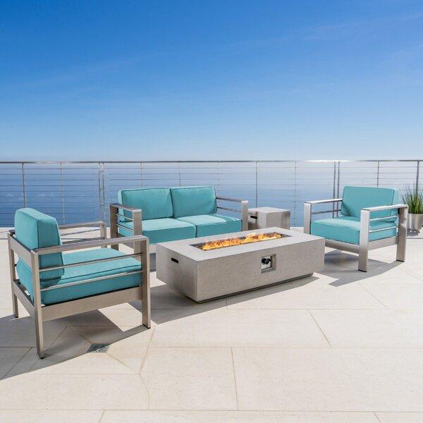 Dickerson 5 Piece Sunbrella Sofa Set with Cushions by Wade Logan
