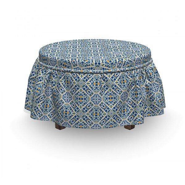 Ethnic Portuguese Floral Retro 2 Piece Box Cushion Ottoman Slipcover Set By East Urban Home