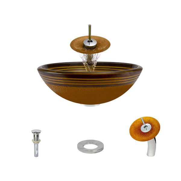 Hand Painted Glass Circular Vessel Bathroom Sink with Faucet by MR Direct
