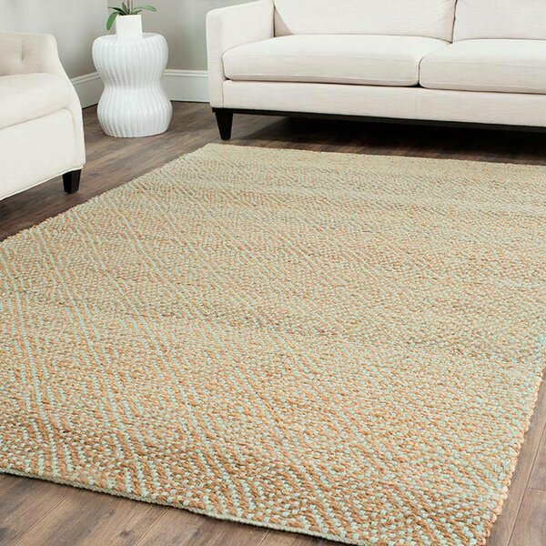Richmond Hand-Woven Natural/Mint Green Indoor Area Rug by Beachcrest Home
