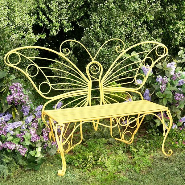 Weather-Resistant Butterfly Metal Garden Bench by Plow & Hearth