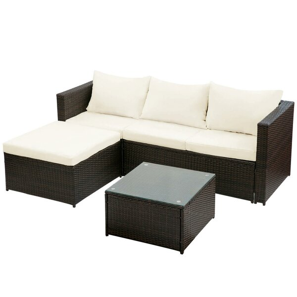 Brennen 3 Piece Rattan Sectional Seating Group with Cushions by Wrought Studio