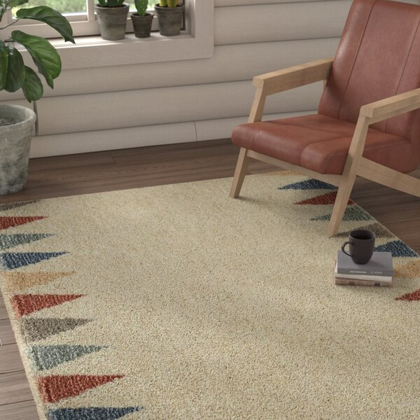 Santina Power Loom Synthetic Beige Area Rug by Union Rustic