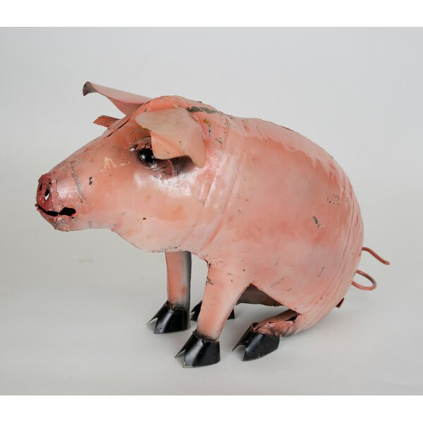 Recycled Metal Sitting Pig Figurine by My Amigos Imports
