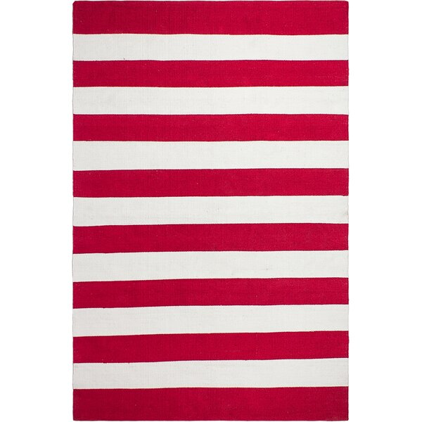 Nantucket Striped Hand-Woven Red/White Indoor/Outdoor Area Rug by Fab Habitat