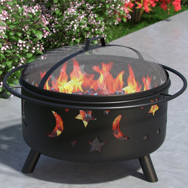 Stars and Moon Outdoor Steel Wood Burning Fire Pit by Regal Flame