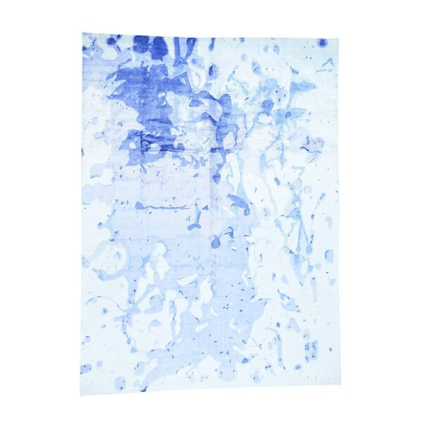 One-of-a-Kind Petry Modern Abstract Art Oriental Hand-Knotted Silk Ivory Area Rug by World Menagerie