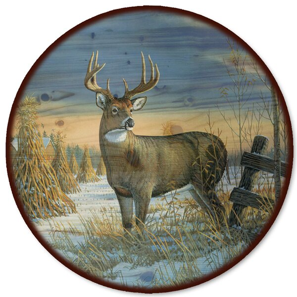 Whitetail Deer in Winter Lazy Susan by WGI-GALLERY