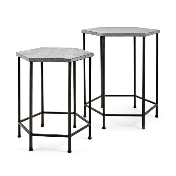 Baumgarten 2 Piece Galvanized End Table Set by Gracie Oaks