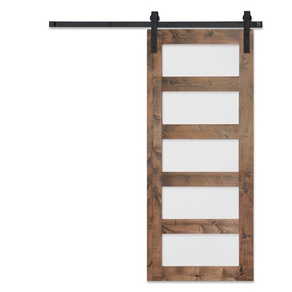 Solid Glass Wood Interior Barn Door by Artisan Har