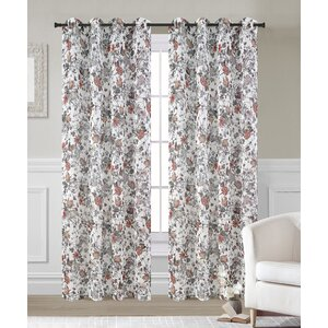 Garden Nature/Floral Sheer Grommet Curtain Panels (Set of 2)