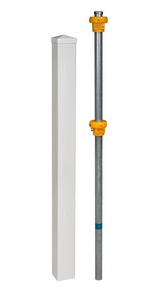Vinyl Finishing Post with Cap and Steel Pipe Anchor Kit by Wam Bam No-Dig Fence