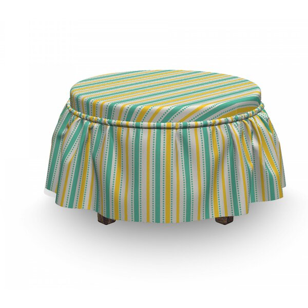 Geometric Summer Stripes Dots 2 Piece Box Cushion Ottoman Slipcover Set By East Urban Home