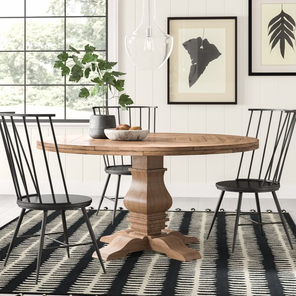 #2 Magaw Solid Wood Dining Table By Loon Peak 2019 Sale