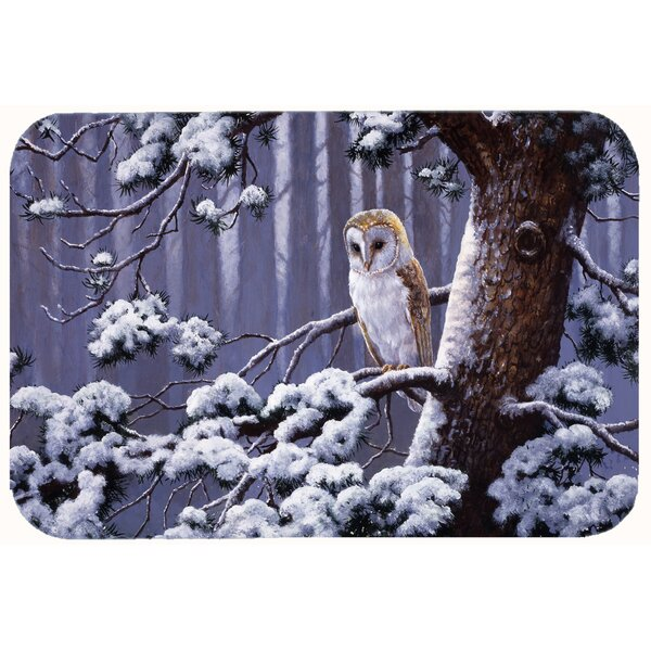 Owl on a Tree Branch in the Snow Kitchen/Bath Mat