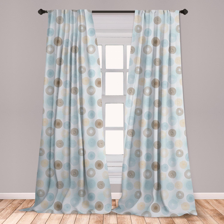 East Urban Home Ambesonne Brown And Blue Curtains, Twirls Vortex