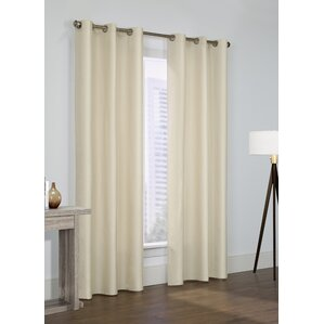obannon solid semiopaque thermal grommet curtain panel set of 2