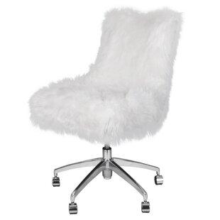 faux fur white desk chairs you ll love wayfair rh wayfair com Fuzzy Desk Chair White Fuzzy Desk Chair White