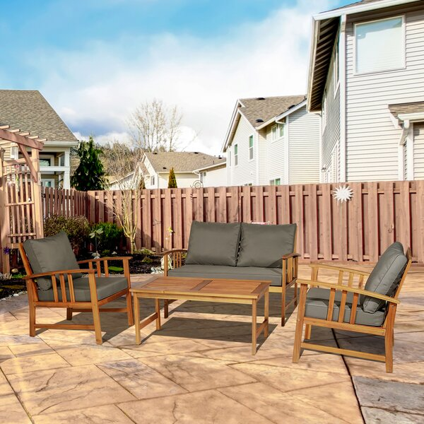 Lesure 4 Piece Seating Group with Cushion by Millwood Pines