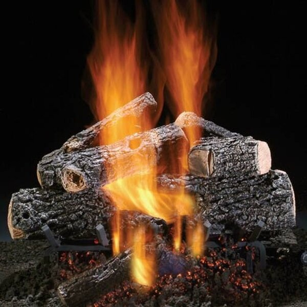 Magnificent Charred Oak Vented Natural Gas/Propane Fireplace Log Set By HargroveGasLogs