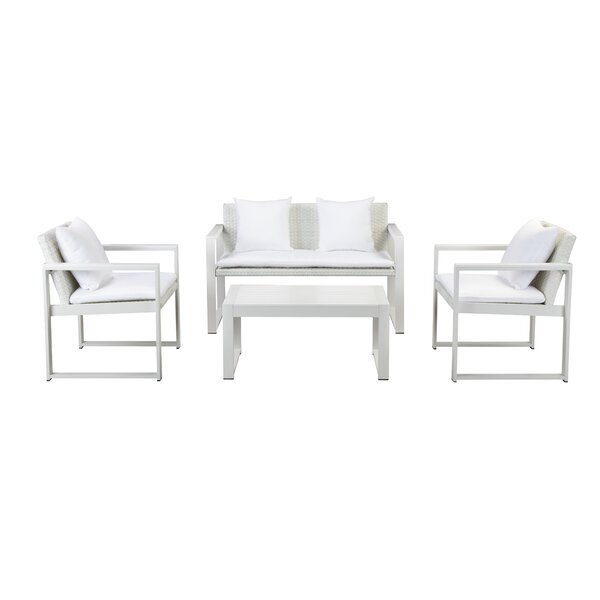 Chstr 4 Piece Rattan Sofa Seating Group with Cushions by Rosecliff Heights