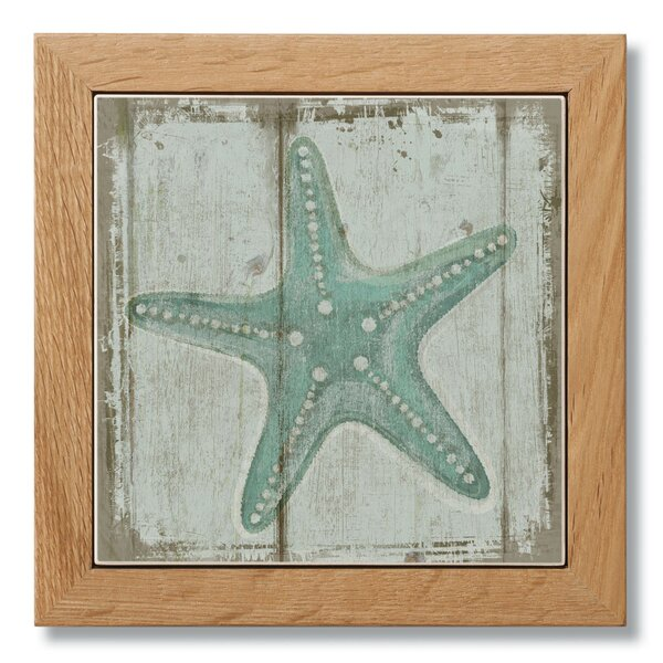 Starfish Framed Printed Coaster by Rosecliff Heights