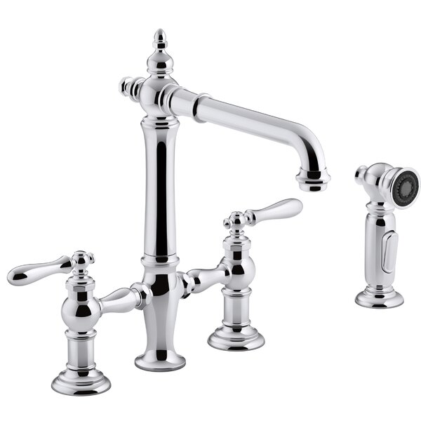 Artifacts® Deck-Mount Bridge Kitchen Sink Faucet with Lever Handles and Sidespray by Kohler