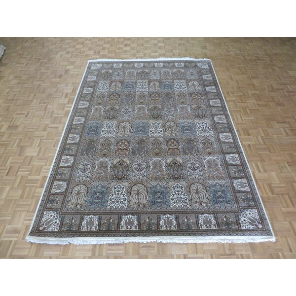 One-of-a-Kind Rainville Hand-Knotted White/Black Area Rug by Astoria Grand