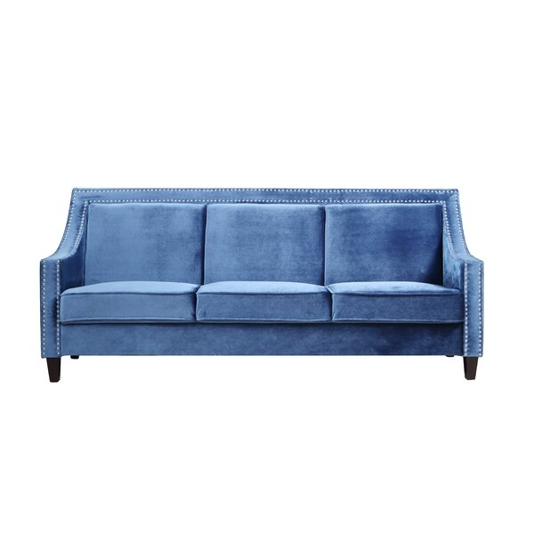 Trista Nailhead Trim Wood Legs Couch Sofa by House of Hampton